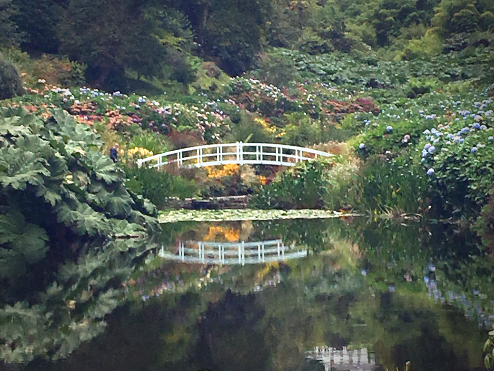 White bridge over tranquil lake in a beautiful garden