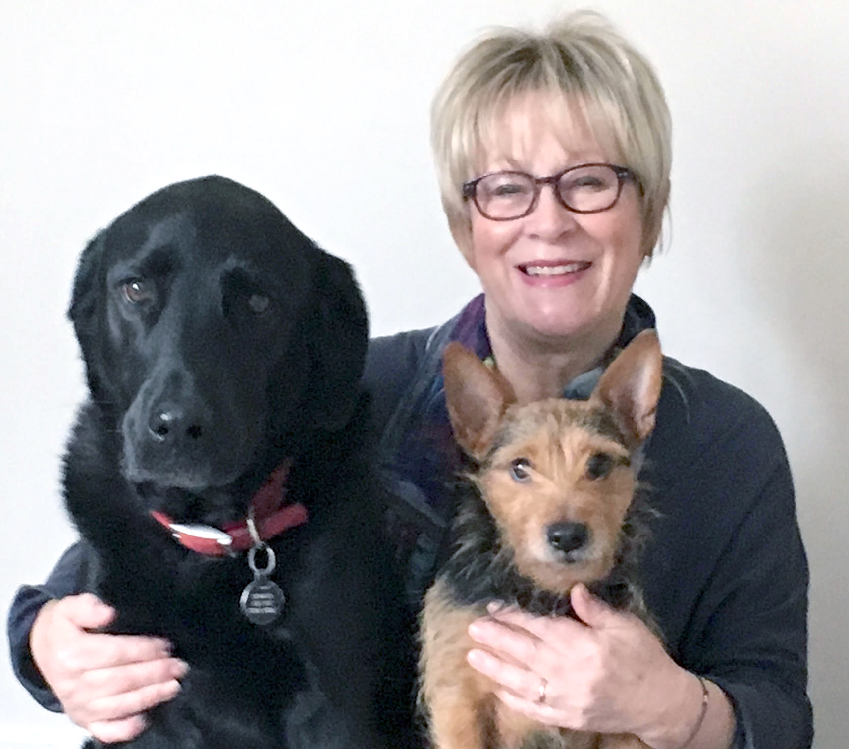 Jenny Newman with her dogs Eric and Roly.